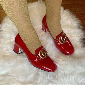 GUCCI Red Patent Vernice Block Heel GG Pumps
